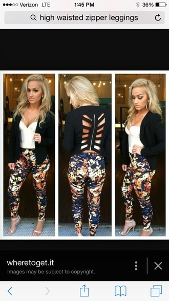 leggings high wasited jeans printed leggings pants with zippers