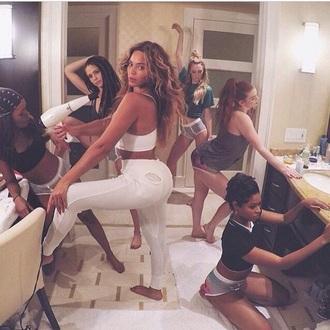 beyonce white pants style celebrity style booty beyonce fashion leggings tights 7/11 black girls killin it top