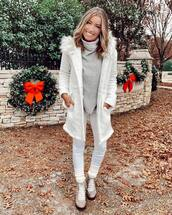 coat,white coat,grey boots,ankle boots,white jeans,turtleneck sweater,winter outfits,winter coat