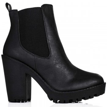 Buy PHYSICAL Heeled Platform Chelsea Ankle Boots Black Leather Style Online