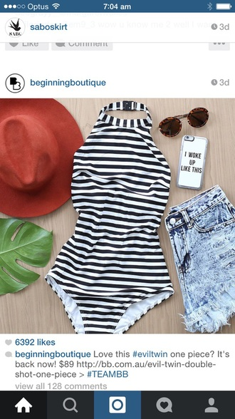 swimwear shorts hat sunglasses outfit beach stripes one piece swimsuit