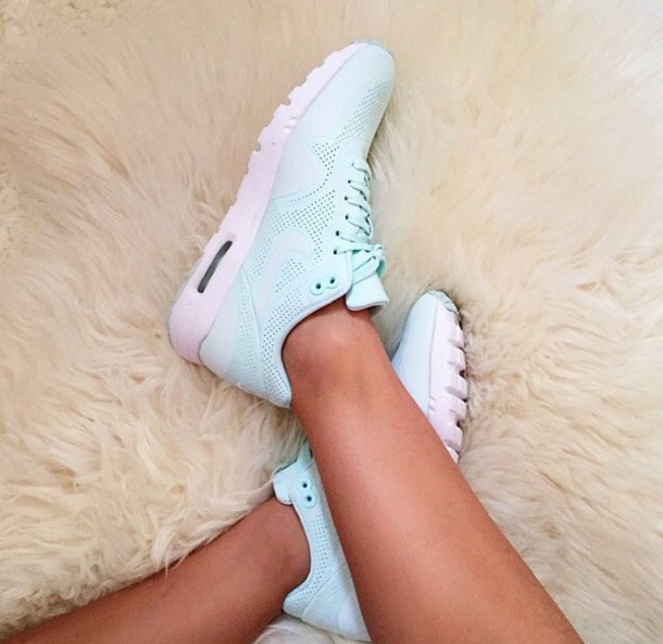shoes trainers nike running shoes nike shoes nike running shoes pink shoes pastel light tiffany blue nikes low top sneakers