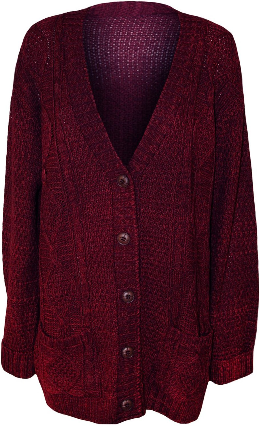 Women's Plus Size Button Cable Knit Cardigan at Amazon Women's ...
