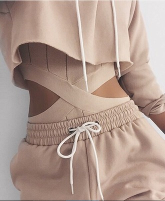 pants clothes tumblr criss cross cropped hoodie joggers bodysuit aesthetic white lace matching set romper jacket top hoodie tan two-piece nude summer cool fashion
