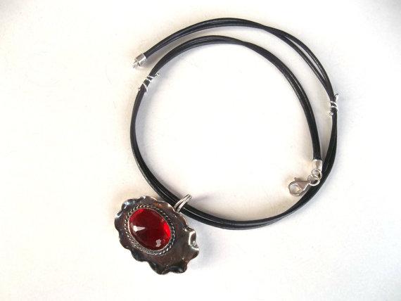 Sterling silver   jewellery  ruby pendant   pure by guldentaki