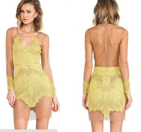 dream closet couture hollow dress sheer mesh yellow yellow lace couture chic boho chic hippie chic
