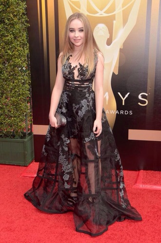 dress sabrina carpenter girl meets world black short and long net pattern patterened dress lace ball gown dress prom emmys 2015 emmys purse heels actor singer grey and black black dress short and long dress netted dress gemy maalouf