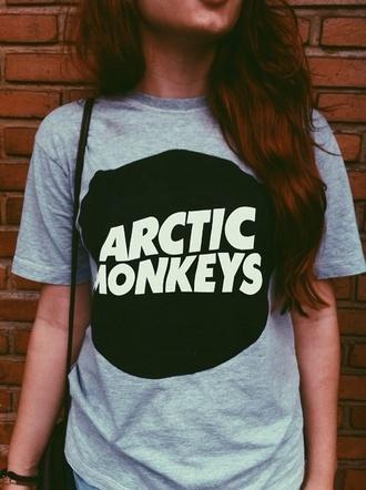 t-shirt arctic monkeys grey t-shirt band t-shirt