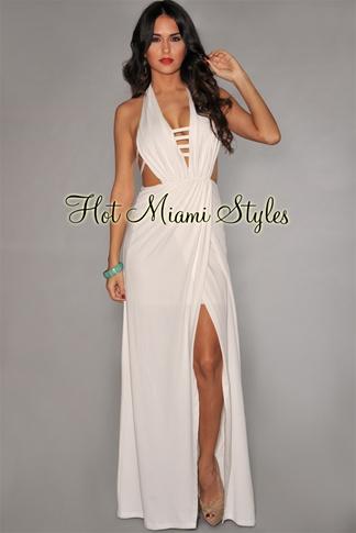 White Plunge Slit Gown