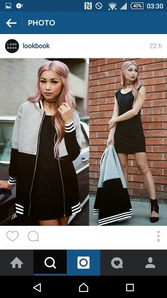 jacket bomber jacket grey sweater black dress shoes
