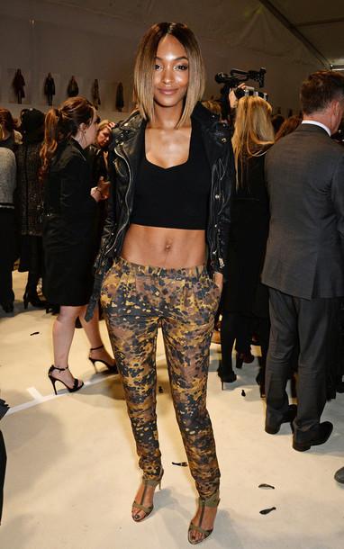 pants jourdan dunn fashion week 2015 crop tops jacket camouflage black girls killin it