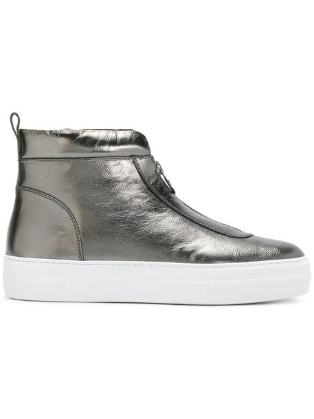 moncler women sneakers leather grey shoes