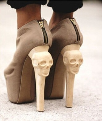 shoes skull cream brown heels stilettos boots fashion style zips gold
