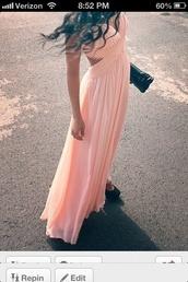 dress,pink dress,prom dress,prom,long dress,peach dress,open backed dress,maxi dress,pink maxi dress,cut-out dress,peach prom dress,long prom dress,lace,pink