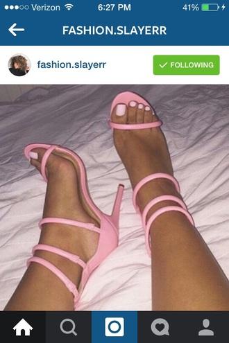 shoes pinkstrapheels pink heels pink