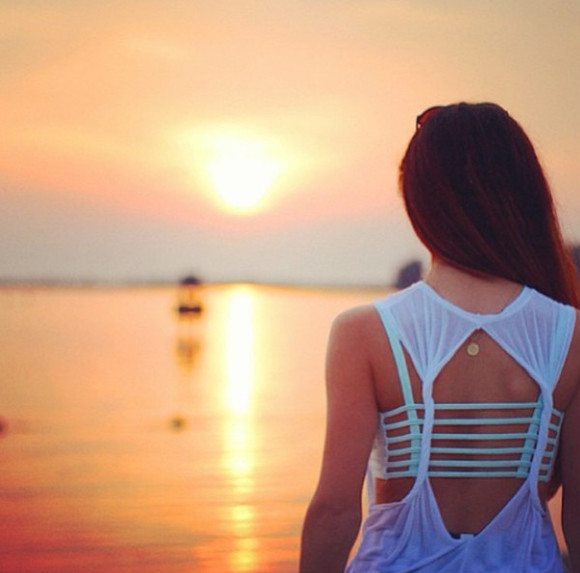 summer sunshine top turquoise white tank top sunset crop tops clothes tanktop white tank top white summer top croptop