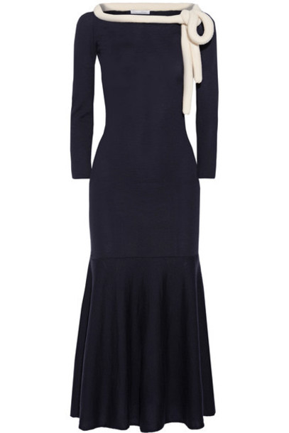 oscar de la renta dress midi dress midi blue wool