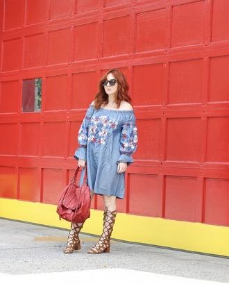 tf diaries blogger dress bag shoes sandals gladiators red bag blue dress off the shoulder dress summer outfits summer dress