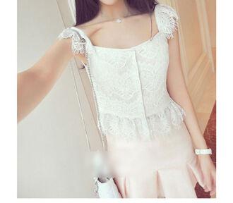top lace lace top kawaii japanese nymphet sweet pretty gyaru cute top vintage princess korean fashion korean style lolita