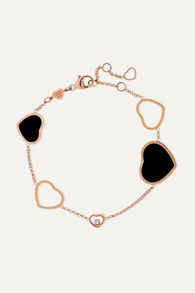 Chopard - Happy Hearts 18-karat Rose Gold, Diamond And Onyx Bracelet - Happy Hearts 18-karat Rose Gold, Diamond And Onyx Bracelet