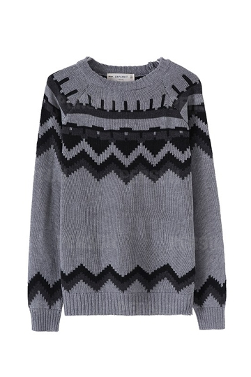 New Jacquard Pattern Slim Sweater [FKBJ10203] - PersunMall.com