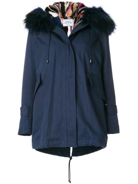 FORTE COUTURE parka fur women new cotton blue coat