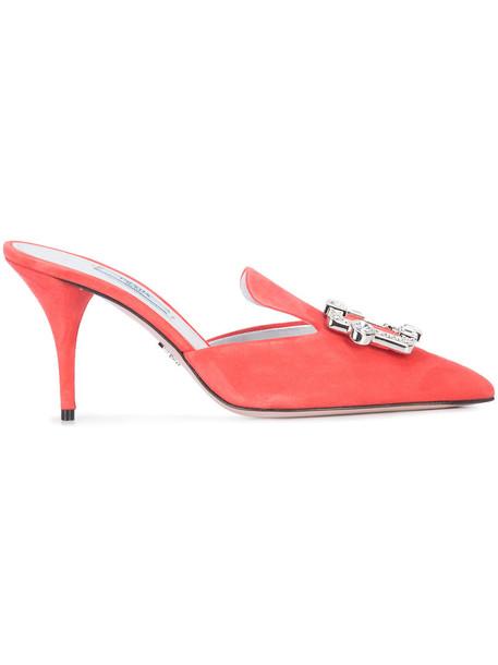 Prada women mules leather purple pink shoes