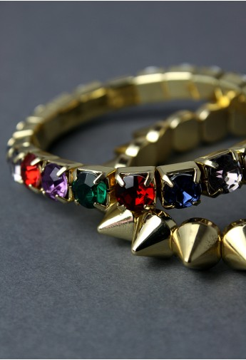 Diamond Spike Twin Bracelets - Retro, Indie and Unique Fashion
