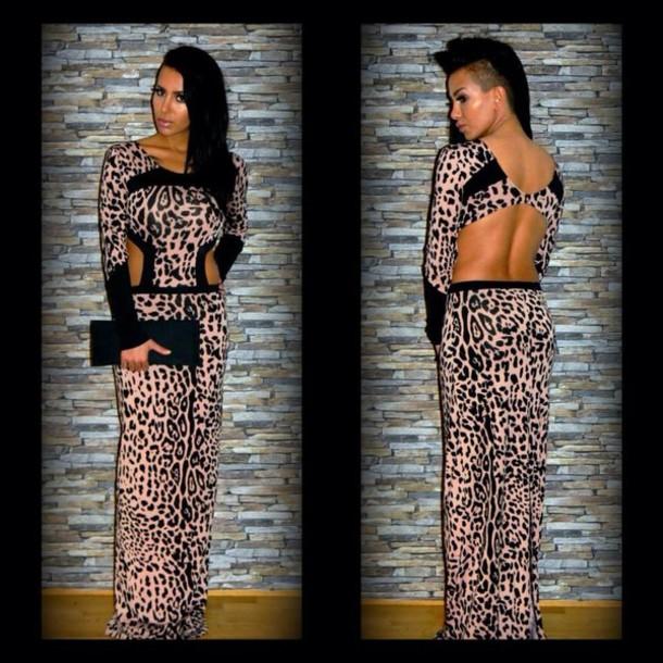 dress nude dress maxi dress evening dress backless dress leopard print black nude long prom dress summer dress sexy hot topic