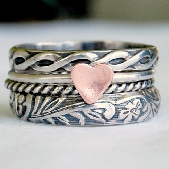 jewels heart ring heart ring small big cute tribal
