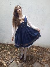 dress,lolita,kawaii,chess story,blue,gold,embroidered,navy