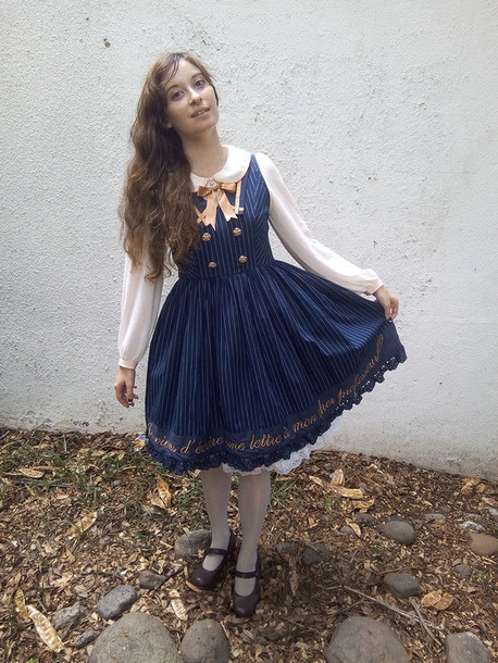 dress lolita kawaii chess story blue gold embroidered navy