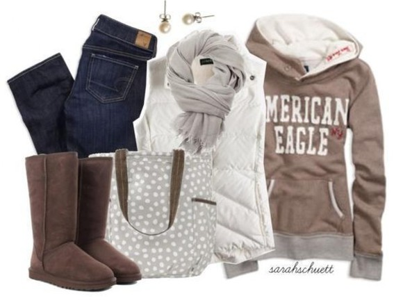 bag tote bag coat uggs brown boots scarf scarves scarves earrings jeans polka dots