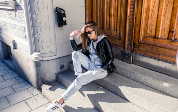 kenza blogger pants adidas shoes hoodie leather jacket
