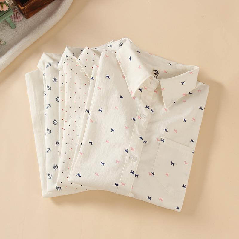 a87628a0c9 New 2014 Women s All match Anchor Dot White Turndown Collar Long sleeve Shirts  Women Cute Animal Print ...