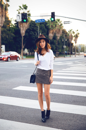 hat tsangtastic blogger t-shirt bag mini skirt