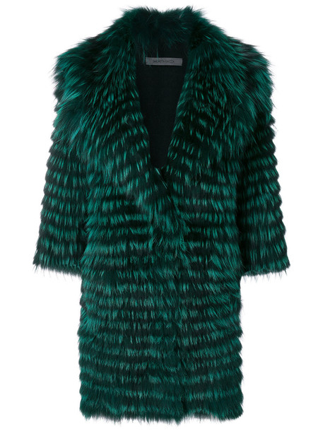 coat fur fox women wool green