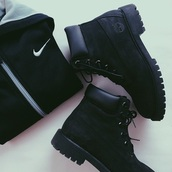 shoes,timberland boots shoes,black high heels,timberland black hot fashionn,sweater,nike,timberlands,timberland boots,style,cute,black,black boots,black autumn