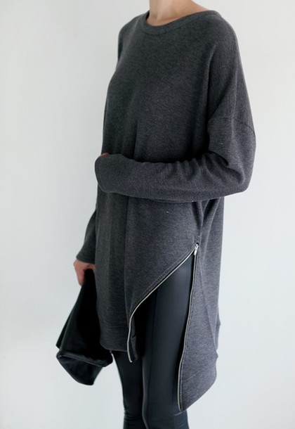 b77a96d2faa9 grey sweater grey zip comfy blouse top sweater long sleeved shirt sweatshirt  jeans black jeans pullover
