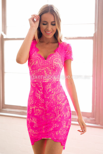 Lace Dress (Hot Pink) | Xenia Boutique | Women's fashion for Less ...