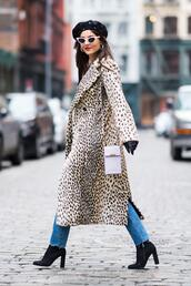 coat,animal print,boots,hat,sunglasses,victoria justice,streetstyle,fashion week,ny fashion week 2018,denim,jeans