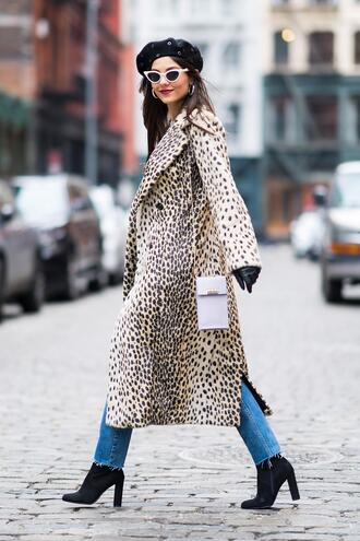 coat animal print boots hat sunglasses victoria justice streetstyle fashion week ny fashion week 2018 denim jeans