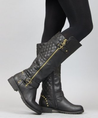 Amazon.com: Nature Breeze Vivienne-01 Studded Quilted Leatherette Buckle Round Toe Motorcycle Boots: Shoes