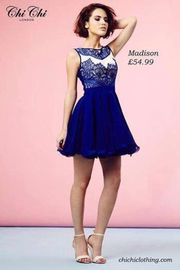 dress blue dress white dress lace dress high neck blue and white knee length