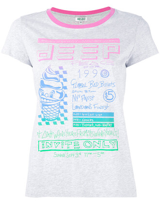 t-shirt shirt printed t-shirt women cotton grey top