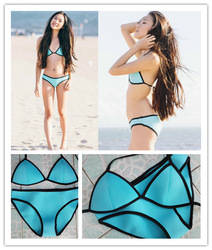 Online shop 2014 perfect quality neoprene bikini triangl swimsuit bikini neoprene bathing suit swimwear women bikini set 6 colors xs