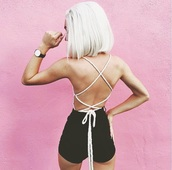 top,crop tops,cropped,crop,shirt,lace up,lace top,lace,lace up top,lace romper,bodysuit,t-shirt,blouse,nude,black,shorts,short,booty shorts,summer shorts,lace bra,lace crop top,bottoms,pink,watch
