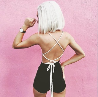 top crop tops cropped crop shirt lace up lace top lace lace up top lace romper bodysuit t-shirt blouse nude black shorts short booty shorts summer shorts lace bra lace crop top bottoms pink watch
