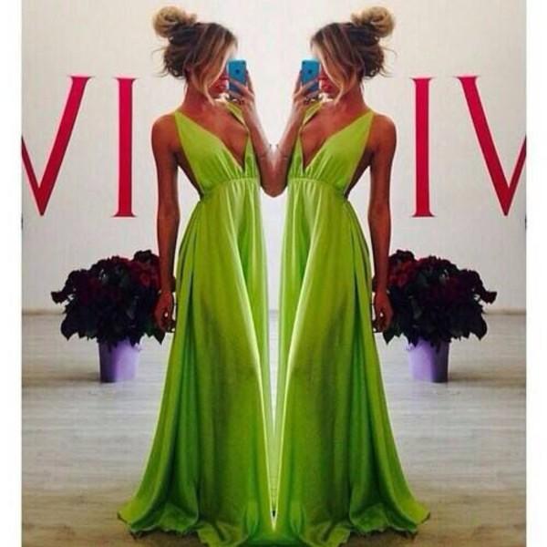 lunge dress prom dress green dress sexy dress v neck dress plunge neckline evening dress evening dress dress