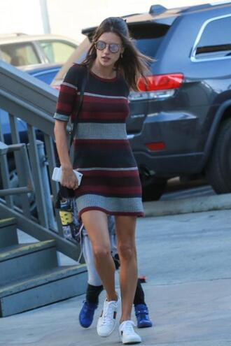 dress sneakers sweater dress streetstyle striped dress stripes sunglasses alessandra ambrosio mini dress printed knit dress